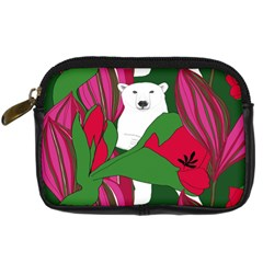 Animals White Bear Flower Floral Red Green Digital Camera Cases by Mariart