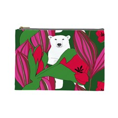 Animals White Bear Flower Floral Red Green Cosmetic Bag (large)  by Mariart