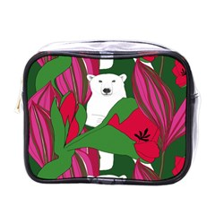Animals White Bear Flower Floral Red Green Mini Toiletries Bags by Mariart