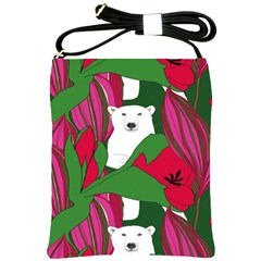 Animals White Bear Flower Floral Red Green Shoulder Sling Bags by Mariart