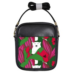 Animals White Bear Flower Floral Red Green Girls Sling Bags by Mariart