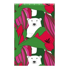 Animals White Bear Flower Floral Red Green Shower Curtain 48  X 72  (small)  by Mariart