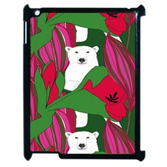 Animals White Bear Flower Floral Red Green Apple Ipad 2 Case (black) by Mariart