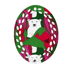 Animals White Bear Flower Floral Red Green Oval Filigree Ornament (two Sides) by Mariart