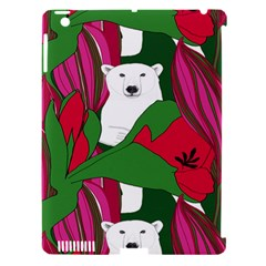 Animals White Bear Flower Floral Red Green Apple Ipad 3/4 Hardshell Case (compatible With Smart Cover) by Mariart