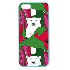 Animals White Bear Flower Floral Red Green Apple Seamless Iphone 5 Case (color) by Mariart