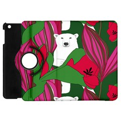 Animals White Bear Flower Floral Red Green Apple Ipad Mini Flip 360 Case by Mariart