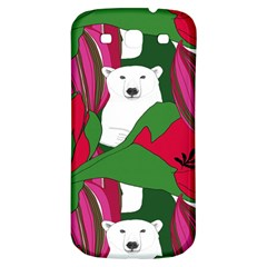 Animals White Bear Flower Floral Red Green Samsung Galaxy S3 S Iii Classic Hardshell Back Case by Mariart