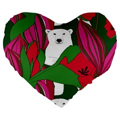 Animals White Bear Flower Floral Red Green Large 19  Premium Heart Shape Cushions by Mariart