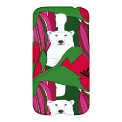 Animals White Bear Flower Floral Red Green Samsung Galaxy S4 I9500/i9505 Hardshell Case by Mariart
