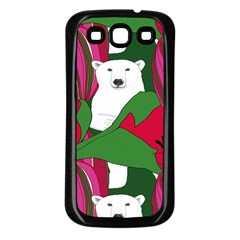 Animals White Bear Flower Floral Red Green Samsung Galaxy S3 Back Case (black) by Mariart