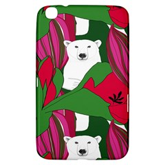 Animals White Bear Flower Floral Red Green Samsung Galaxy Tab 3 (8 ) T3100 Hardshell Case  by Mariart