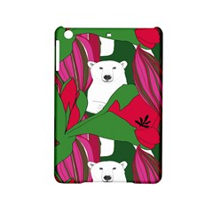 Animals White Bear Flower Floral Red Green Ipad Mini 2 Hardshell Cases by Mariart