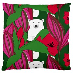 Animals White Bear Flower Floral Red Green Large Flano Cushion Case (one Side) by Mariart