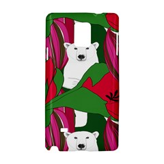 Animals White Bear Flower Floral Red Green Samsung Galaxy Note 4 Hardshell Case by Mariart