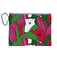 Animals White Bear Flower Floral Red Green Canvas Cosmetic Bag (xl) by Mariart