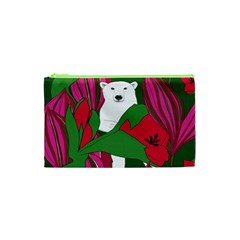 Animals White Bear Flower Floral Red Green Cosmetic Bag (xs) by Mariart