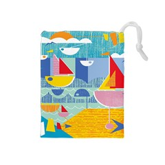 Boats Ship Sea Beach Drawstring Pouches (medium)  by Mariart