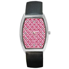 Botanical Gardens Sunflower Red White Circle Barrel Style Metal Watch by Mariart