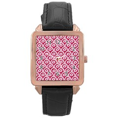 Botanical Gardens Sunflower Red White Circle Rose Gold Leather Watch  by Mariart