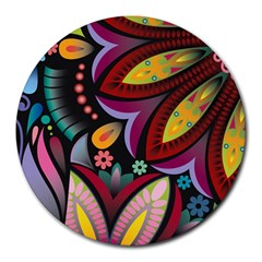 Flower Floral Sunflower Rose Color Rainbow Circle Polka Round Mousepads by Mariart