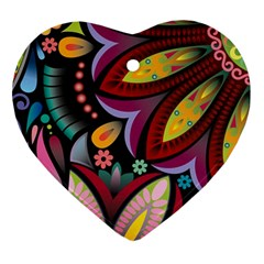 Flower Floral Sunflower Rose Color Rainbow Circle Polka Ornament (heart) by Mariart