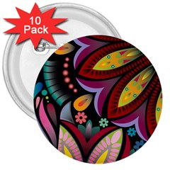 Flower Floral Sunflower Rose Color Rainbow Circle Polka 3  Buttons (10 Pack)  by Mariart