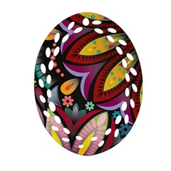 Flower Floral Sunflower Rose Color Rainbow Circle Polka Oval Filigree Ornament (two Sides) by Mariart