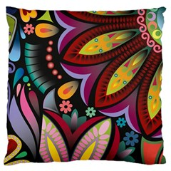 Flower Floral Sunflower Rose Color Rainbow Circle Polka Large Flano Cushion Case (one Side) by Mariart