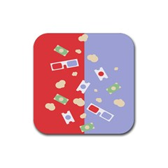 Glasses Red Blue Green Cloud Line Cart Rubber Square Coaster (4 Pack)  by Mariart