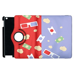 Glasses Red Blue Green Cloud Line Cart Apple Ipad 2 Flip 360 Case by Mariart