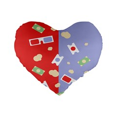 Glasses Red Blue Green Cloud Line Cart Standard 16  Premium Flano Heart Shape Cushions by Mariart