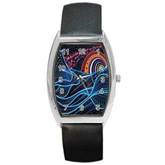 Fish Out Of Water Monster Space Rainbow Circle Polka Line Wave Chevron Star Barrel Style Metal Watch by Mariart