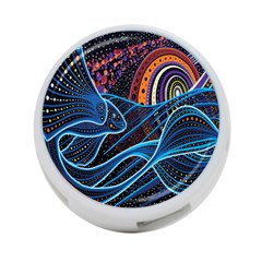 Fish Out Of Water Monster Space Rainbow Circle Polka Line Wave Chevron Star 4 Port Usb Hub (two Sides)  by Mariart
