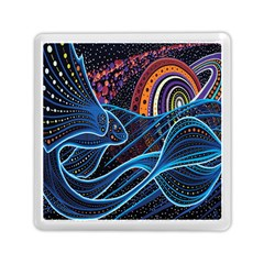 Fish Out Of Water Monster Space Rainbow Circle Polka Line Wave Chevron Star Memory Card Reader (square)  by Mariart