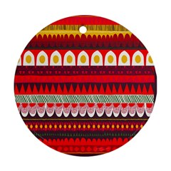 Fabric Aztec Red Line Polka Circle Wave Chevron Star Ornament (round) by Mariart