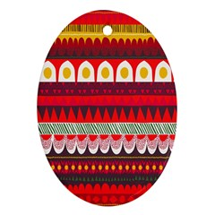 Fabric Aztec Red Line Polka Circle Wave Chevron Star Ornament (oval) by Mariart