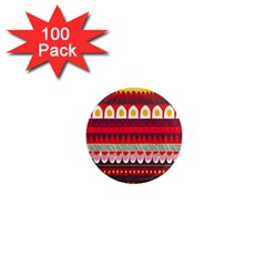 Fabric Aztec Red Line Polka Circle Wave Chevron Star 1  Mini Magnets (100 Pack)  by Mariart