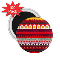 Fabric Aztec Red Line Polka Circle Wave Chevron Star 2 25  Magnets (100 Pack)  by Mariart