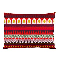 Fabric Aztec Red Line Polka Circle Wave Chevron Star Pillow Case by Mariart