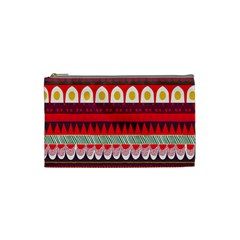 Fabric Aztec Red Line Polka Circle Wave Chevron Star Cosmetic Bag (small)