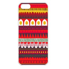 Fabric Aztec Red Line Polka Circle Wave Chevron Star Apple Iphone 5 Seamless Case (white) by Mariart