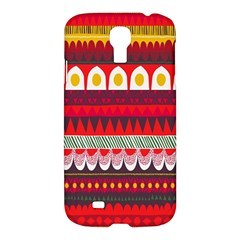Fabric Aztec Red Line Polka Circle Wave Chevron Star Samsung Galaxy S4 I9500/i9505 Hardshell Case by Mariart