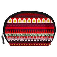Fabric Aztec Red Line Polka Circle Wave Chevron Star Accessory Pouches (large)  by Mariart