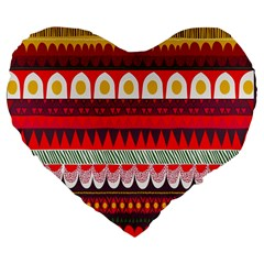 Fabric Aztec Red Line Polka Circle Wave Chevron Star Large 19  Premium Flano Heart Shape Cushions by Mariart