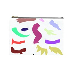 Plushie Color Rainbow Brown Purple Yellow Green Black Cosmetic Bag (large)  by Mariart