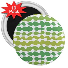 Polkadot Polka Circle Round Line Wave Chevron Waves Green White 3  Magnets (10 Pack)  by Mariart