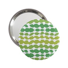Polkadot Polka Circle Round Line Wave Chevron Waves Green White 2 25  Handbag Mirrors by Mariart