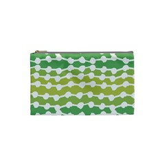Polkadot Polka Circle Round Line Wave Chevron Waves Green White Cosmetic Bag (small)  by Mariart