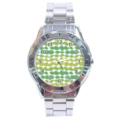 Polkadot Polka Circle Round Line Wave Chevron Waves Green White Stainless Steel Analogue Watch by Mariart